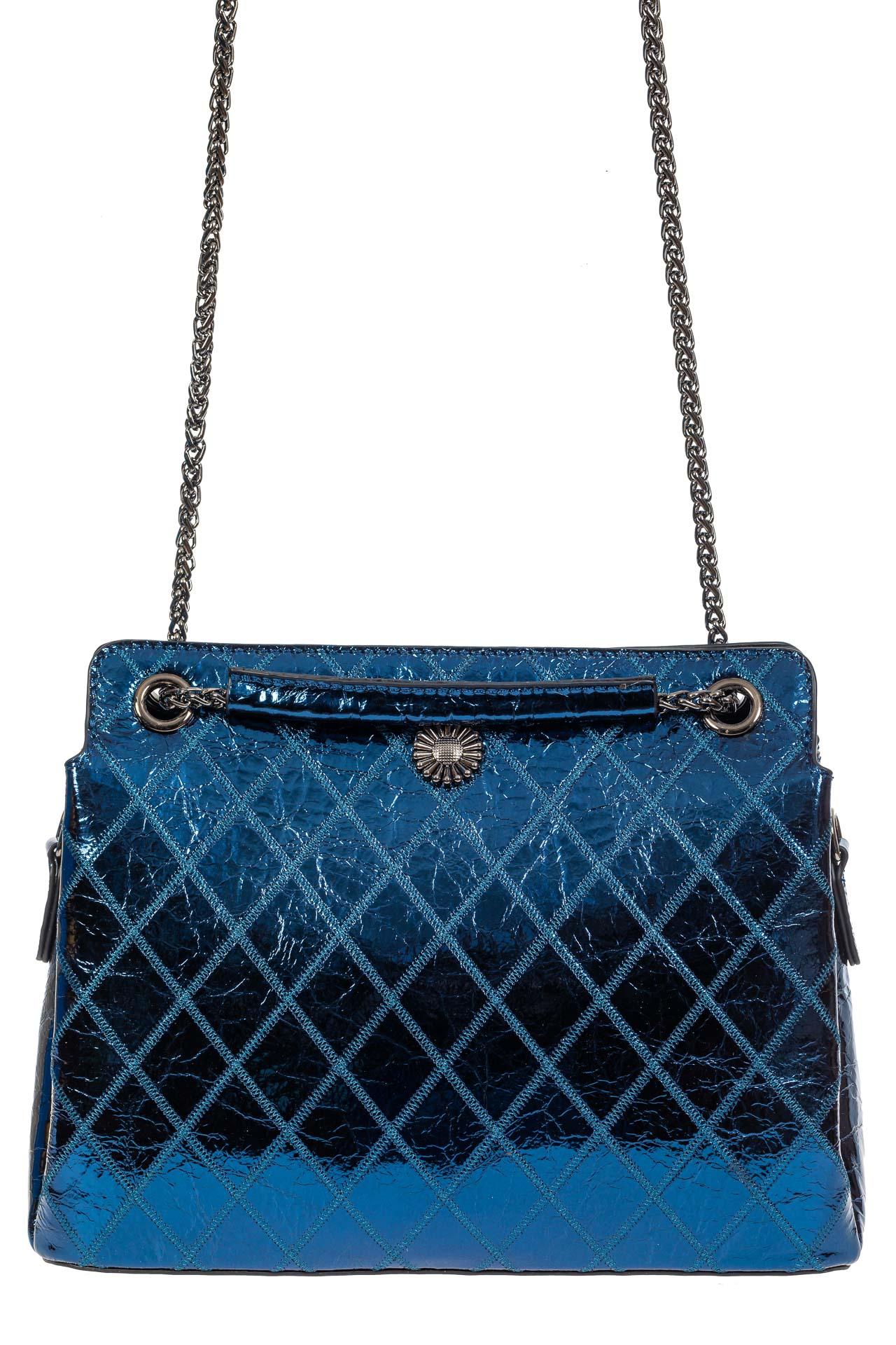 На фото 2 - Стёганая лаковая сумка из натуральной кожи, цвет синий металлик