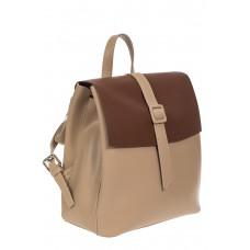 На фото 1 - Женский рюкзачок из натуральной кожи, цвет бежевый с коричневым