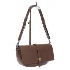 На фото 1 - Кожаная сумка-седло с плетёной ручкой, цвет коричневый