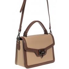 На фото 1 - Каркасная сумка сэтчел из натуральной кожи, цвет бежевый с коричневым