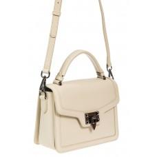 На фото 1 - Каркасная сумка сэтчел из натуральной кожи, цвет молочный