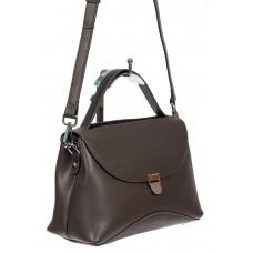 На фото 1 - Кожаная женская сумка satchel, цвет графит