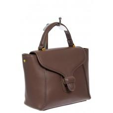 На фото 1 - Кожаный женский сэтчел, цвет коричневый