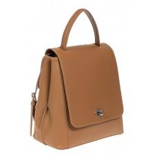 На фото 1 - Рюкзак женский из гладкой натуральной кожи, цвет рыжий