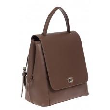 На фото 1 - Рюкзак женский из гладкой натуральной кожи, цвет коричневый