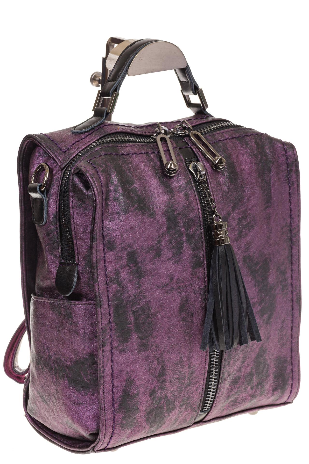 На фото 1 - Бесклапанный рюкзак фиолетового цвета из эко-кожи ML815-3