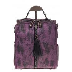 На фото 2 - Бесклапанный рюкзак фиолетового цвета из эко-кожи ML815-3