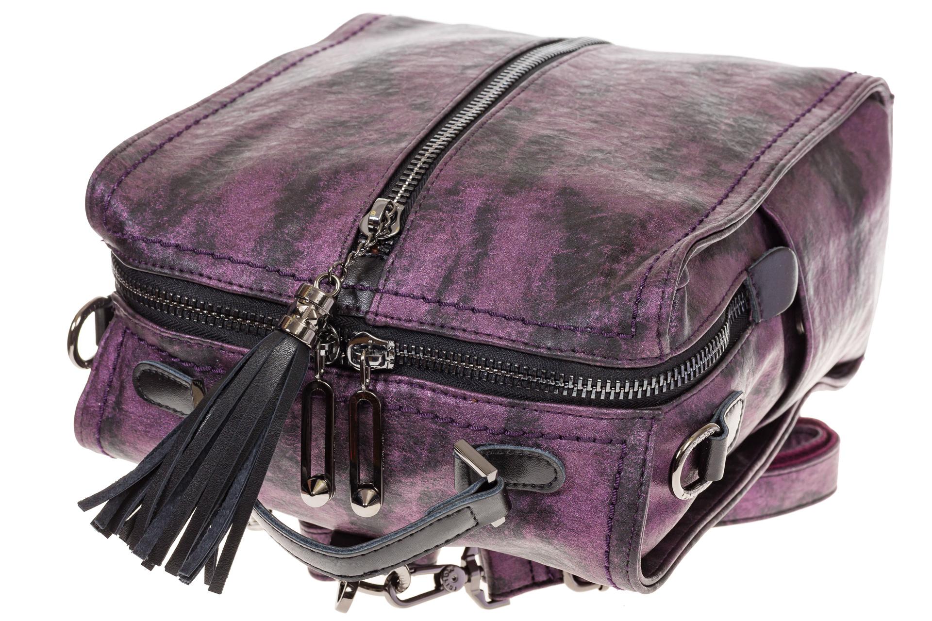 На фото 4 - Бесклапанный рюкзак фиолетового цвета из эко-кожи ML815-3