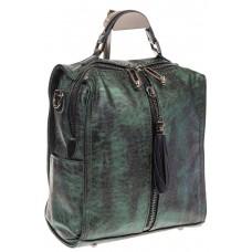 На фото 1 - Бесклапанный рюкзак зеленого цвета из эко-кожи ML815-3