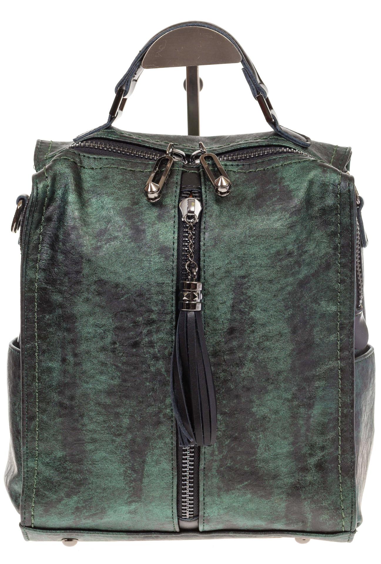 На фото 2 - Бесклапанный рюкзак зеленого цвета из эко-кожи ML815-3