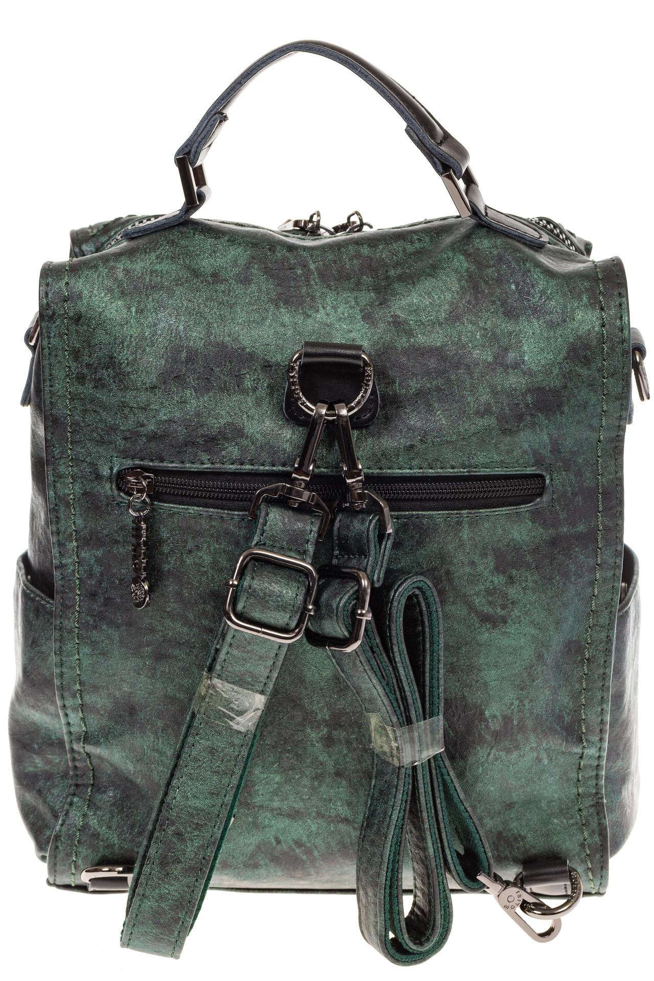 На фото 3 - Бесклапанный рюкзак зеленого цвета из эко-кожи ML815-3