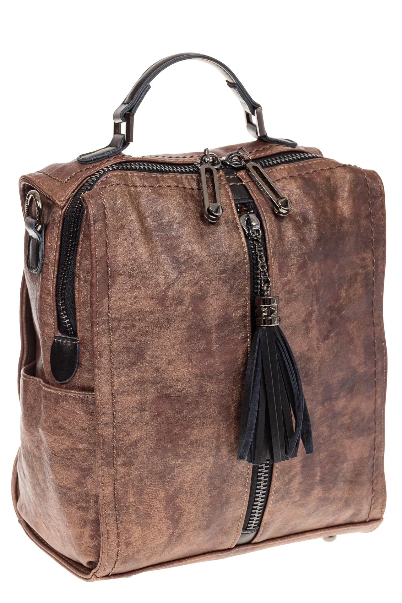 На фото 1 - Бесклапанный рюкзак коричневого цвета из эко-кожи ML815-3