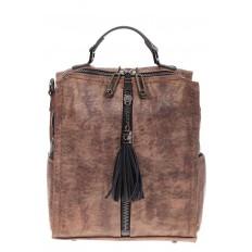 На фото 2 - Бесклапанный рюкзак коричневого цвета из эко-кожи ML815-3
