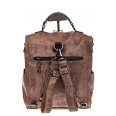 На фото 3 - Бесклапанный рюкзак коричневого цвета из эко-кожи ML815-3