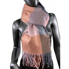 На фото 1 - Шарф-палантин из вискозы и шерсти в клетку, серые, кирпичные и розовые оттенки