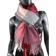 На фото 1 - Шарф-палантин из вискозы и шерсти в клетку, серые, розовые и рубиновые оттенки