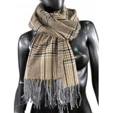 На фото 1 - Клетчатый шарф-палантин из вискозы и шерсти в коричневых оттенках