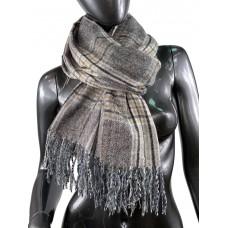 На фото 1 - Клетчатый шарф-палантин из вискозы и шерсти в серо-коричневых оттенках