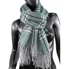 На фото 1 - Клетчатый шарф-палантин из вискозы и шерсти в бледно-зелёных оттенках