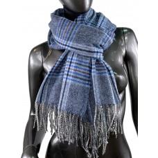 На фото 1 - Клетчатый шарф-палантин из вискозы и шерсти в синих и серых оттенках