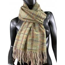 На фото 1 - Клетчатый шарф-палантин из вискозы и шерсти, цвет ореховый с разноцветными нитями