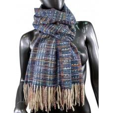 На фото 1 - Клетчатый шарф-палантин из вискозы и шерсти, цвет тёмно-синий с разноцветными нитями