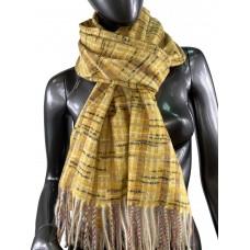 На фото 1 - Клетчатый шарф-палантин из вискозы и шерсти, цвет жёлтый с разноцветными нитями