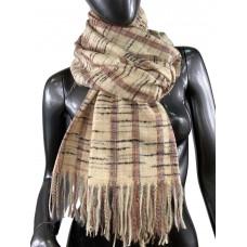 На фото 1 - Клетчатый шарф-палантин из вискозы и шерсти, цвет телесный с разноцветными нитями