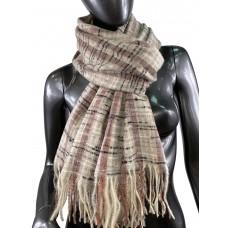 На фото 1 - Клетчатый шарф-палантин из вискозы и шерсти, цвет светло-серый с разноцветными нитями