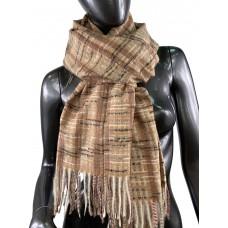 На фото 1 - Клетчатый шарф-палантин из вискозы и шерсти, цвет охра с разноцветными нитями
