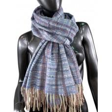На фото 1 - Клетчатый шарф-палантин из вискозы и шерсти, цвет васильковый с разноцветными нитями