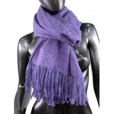 На фото 1 - Тёплый платок-палантин из шерсти и вискозы, цвет электрик и пепельная роза