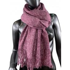 На фото 1 - Тёплый платок-палантин из шерсти и вискозы, цвет бордовый с розовым