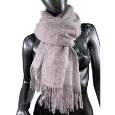 На фото 1 - Тёплый платок-палантин из шерсти и вискозы, цвет розовый с серым