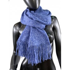 На фото 1 - Тёплый платок-палантин из шерсти и вискозы, цвет васильковый с белым