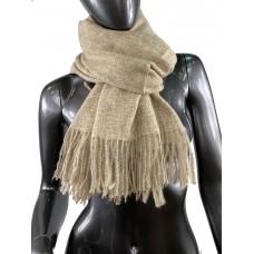 На фото 1 - Тёплый платок-палантин из шерсти и вискозы, цвет песочный с белым