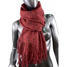 На фото 1 - Тёплый платок-палантин из шерсти и вискозы, цвет рубиново-красный с чёрным