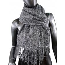 На фото 1 - Тёплый платок-палантин из шерсти и вискозы, цвет серый с чёрным