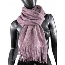 На фото 1 - Тёплый платок-палантин из шерсти и вискозы, цвет розового дерева с белым