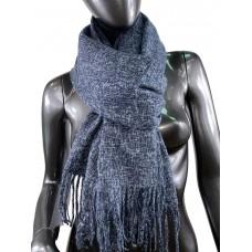 На фото 1 - Тёплый платок-палантин из шерсти и вискозы, цвет графитовый с серым