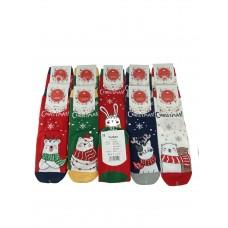 На фото 1 - Молодежные носки с новогодним принтом, 10 пар