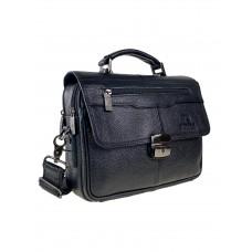На фото 1 - Мужская сумка-портфель из натуральной кожи, цвет чёрный