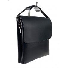 На фото 1 - Чёрная сумка-мессенджер из искусственнной кожи