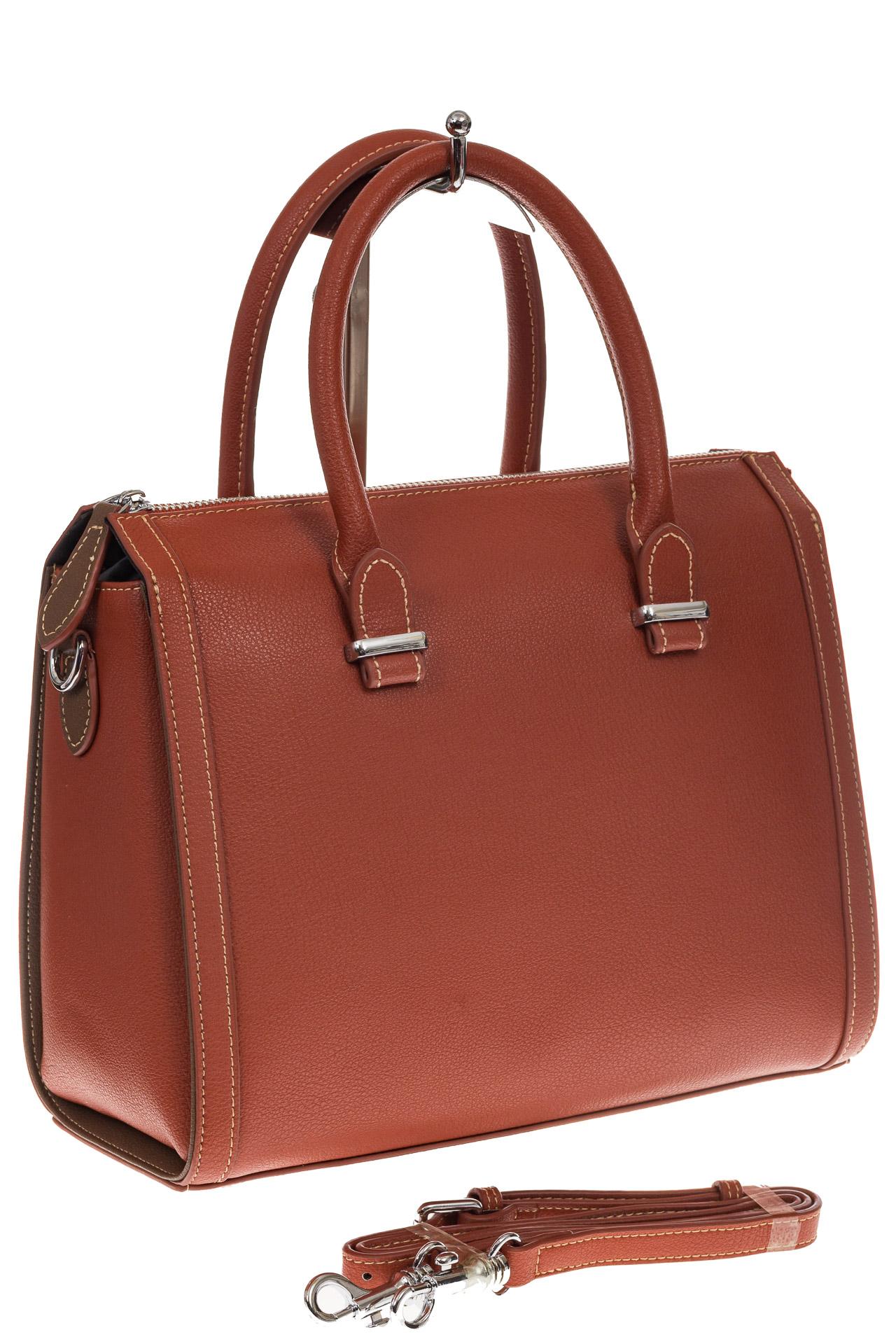На фото 1 - Рыжая женская сумка из натуральной кожи
