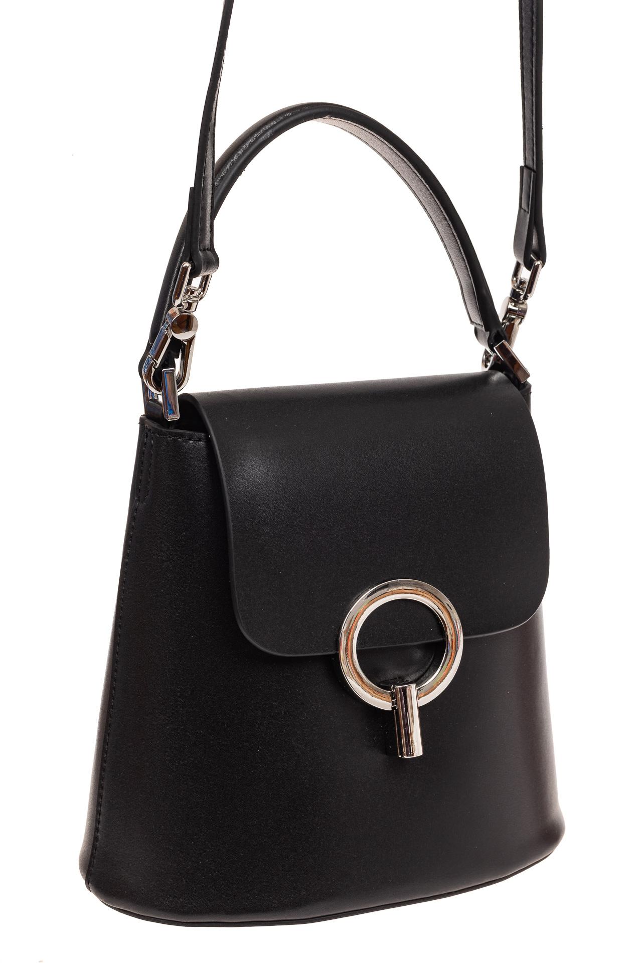 Сумка bucket-bag из натуральной кожи с пряжкой-кольцом, цвет черный