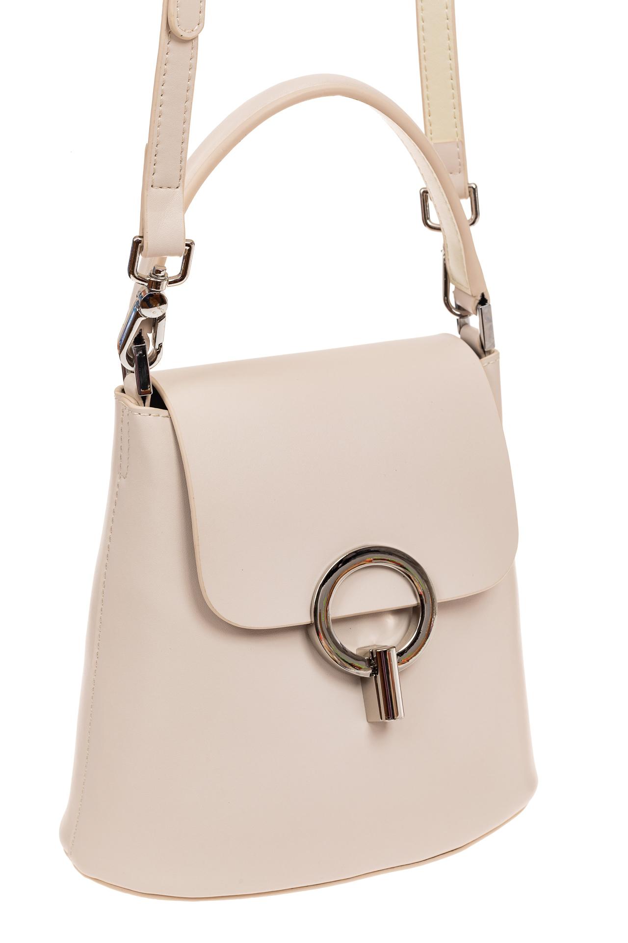 Сумка bucket-bag из натуральной кожи с пряжкой-кольцом, цвет белый