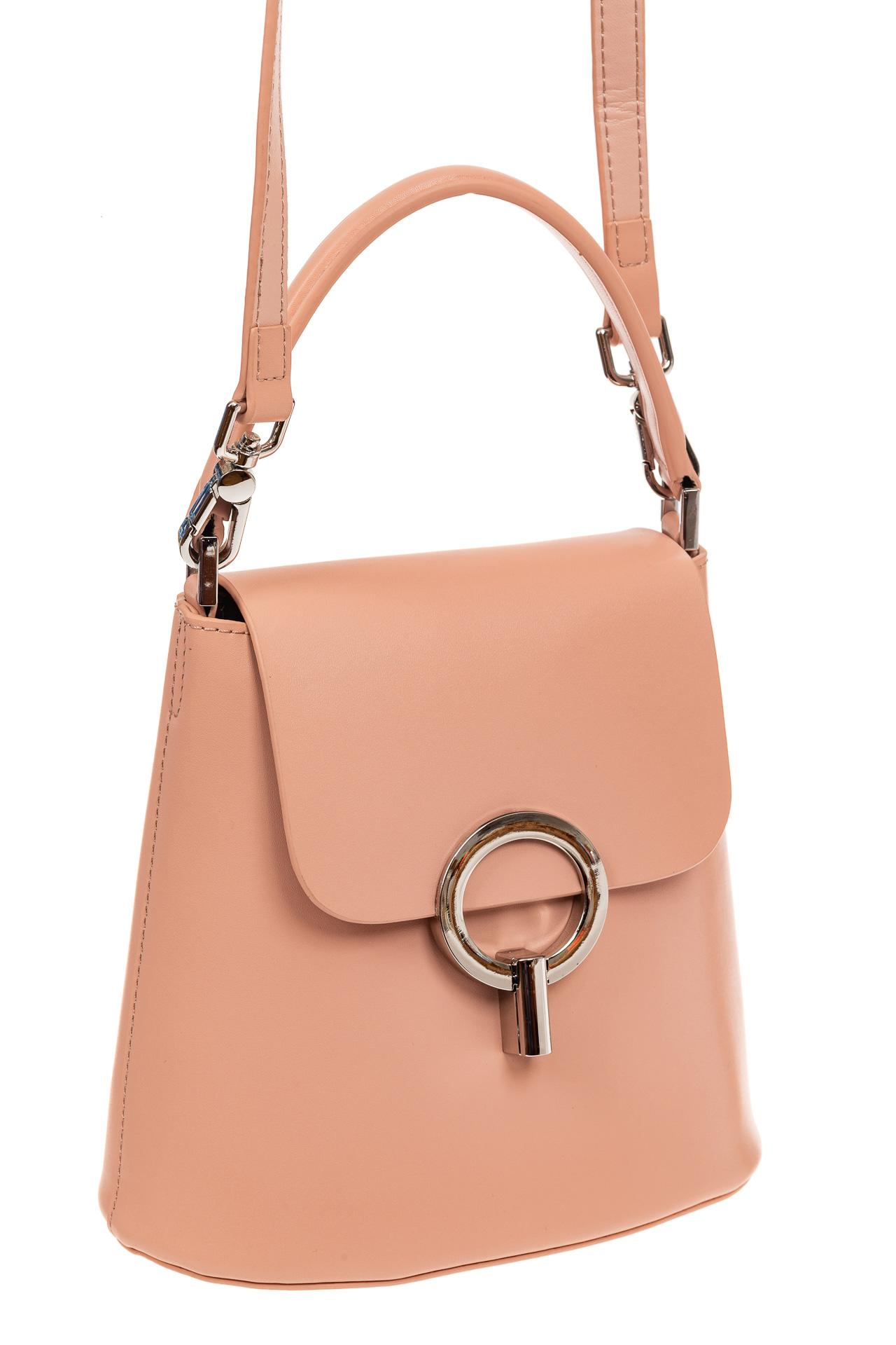 Сумка bucket-bag из натуральной кожи с пряжкой-кольцом, цвет розовый