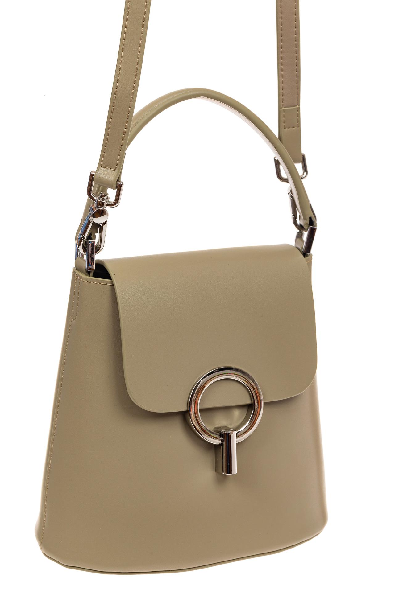 Сумка bucket-bag из натуральной кожи с пряжкой-кольцом, цвет мята