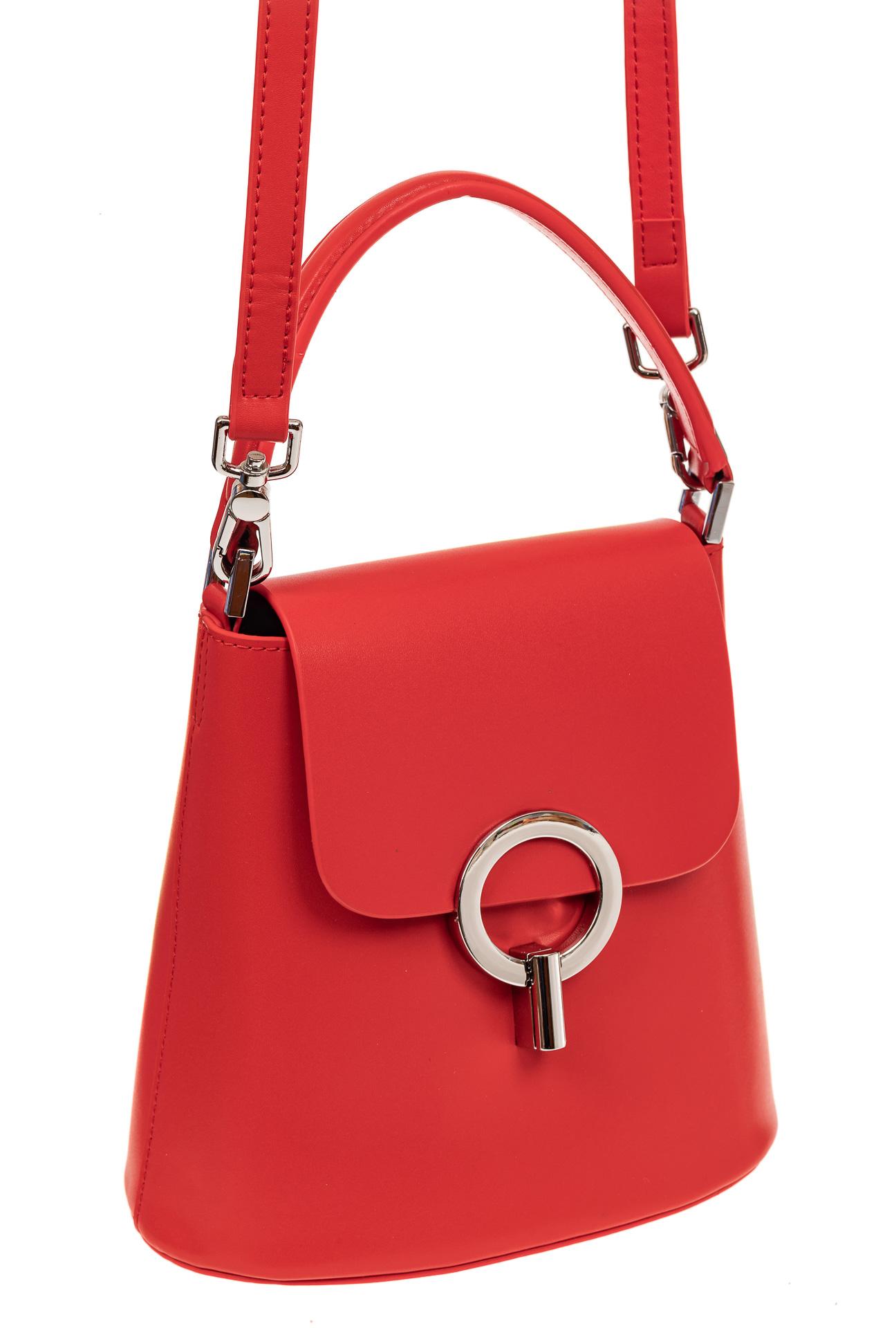 Сумка bucket-bag из натуральной кожи с пряжкой-кольцом, цвет красный