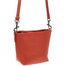 На фото 1 - Летняя сумка-ведро из натуральной кожи, цвет оранжевый
